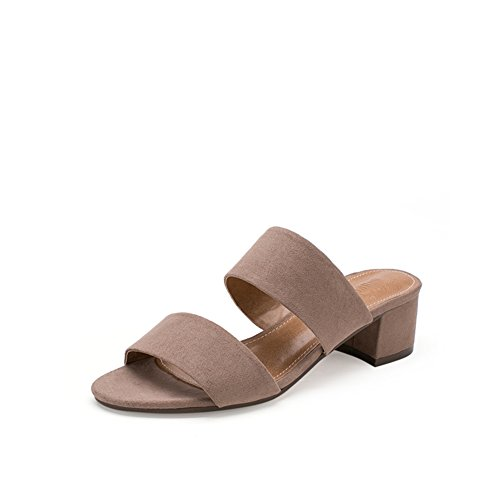 Lady,Summer,Chaussons Talon Moyen Rough Avec, Mode Tongs B