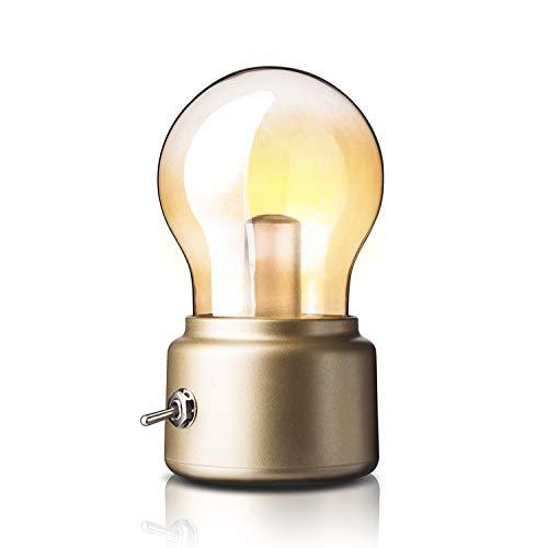 Singeru Mini Lampe de table à LED Vintage USB Lampe de chevet ampoule Batterie rechargeable Design rétro Lampe décorative à piles avec câble de charge or