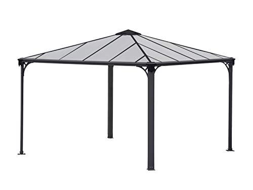 Palram Palermo 3600 Gartenpavillon: Höchst widerstandsfähig, Hardtop Pavillon 360 x 360 cm. Robuste Aluminiumkonstruktion Mit Dach Aus Polycarbonat. Ideal Als Freistehende Überdachung