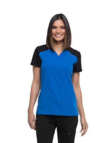 Dickies Xtreme Stretch by Women's V-Neck Solid Scrub Top XX-Small Navy