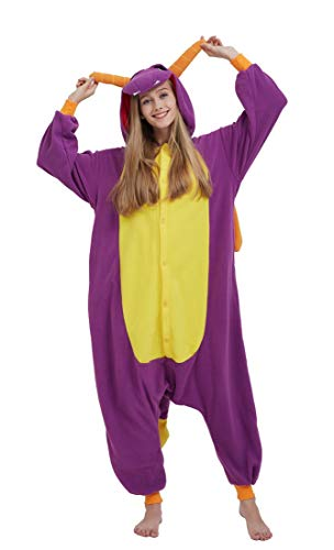 SAMGU Einhorn Adult Pyjama Cosplay Tier Onesie Body Nachtwäsche Kleid Overall Animal Sleepwear Erwachsene Drache S (Erwachsene Kostüme Drachen)