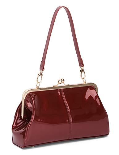 Vintage Kiss Lock Handtaschen Glänzend Lackleder Abendtasche Clutch Handtasche mit zwei Riemen, Rot (weinrot), Medium -