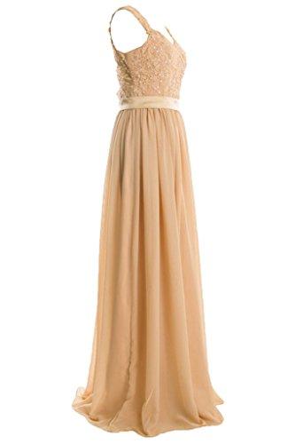 ... Royaldress Einfach Champagner Damen Spitze Chiffon Breit-traeger  Abendkleider Partykleider Promkleider A-linie Rock