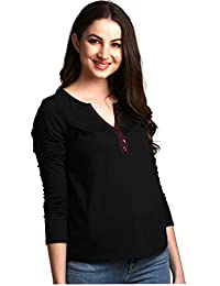 AELO Women's Cotton Black Full Sleeve Top