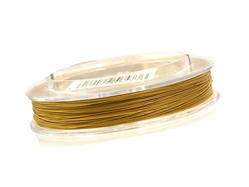 tahldraht 0,4mm, Schmuckdraht für Kette, Armband, nylon ummantelt hautverträglich reißfest, 5m Rolle metallic gold zum Schmuck selbst machen ()