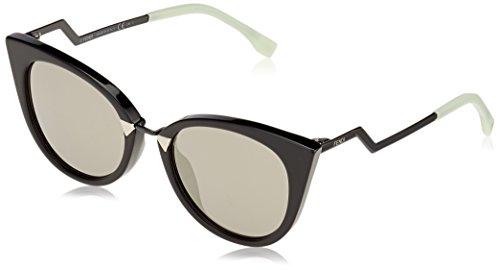 Fendi ff 0118/s ue aqm, occhiali da sole donna, nero (black/grey ivory sp), 52