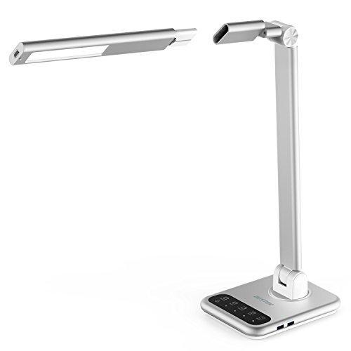 BESTEK 7W Akku Metall Schreibtischlampe led Nachttischlampe dimmbar mit 2 schnelllade USB, 4 Lichtmodi und 16 Stufen (kabelloser Lampenkopf abnehmbar mit Akku und 3 Stufen) Tageslichtlampe mit Timer
