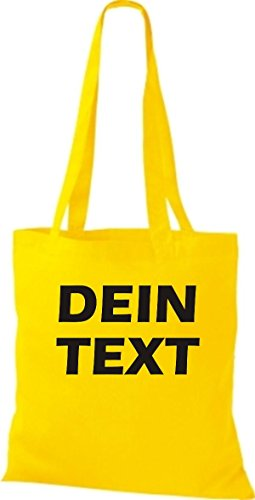 Shirtstown Stoffbeutel mit deinem Wunschtext versehen viele Farben Gelb