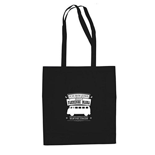 Ich bin eine Bulli fahrende Mama - Stofftasche / Beutel Schwarz