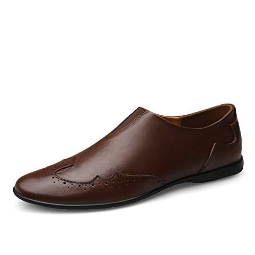 Mocassini uomo casual formale pelle estive lavoro driving outdoor viaggi scarpe,marrone scuro 40 eu