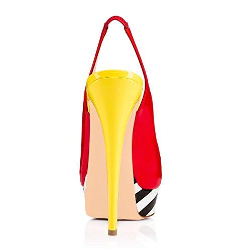 Onlymaker Sandalen High Heels Slingback Stiletto Peep Toe Party Pumps Bunt