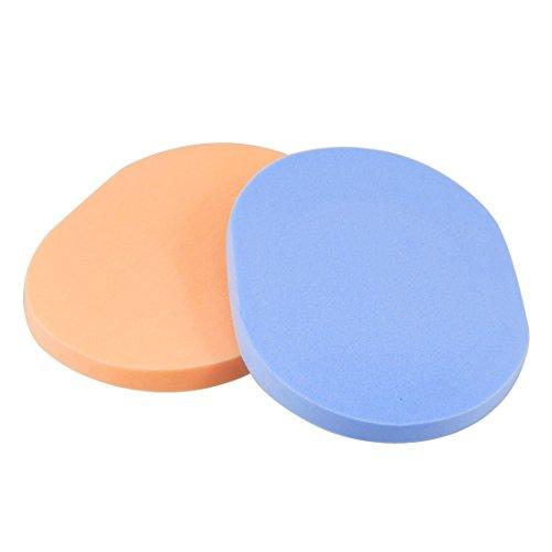 Blau Orange Oval geformte Schwamm-Verfassungs-Kosmetik Gesicht Pad 2 Stück
