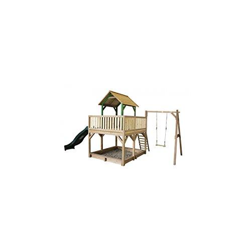 Spielturm axi Atka Holz mit Sandkasten, Einzelschaukel, Rutsche grün