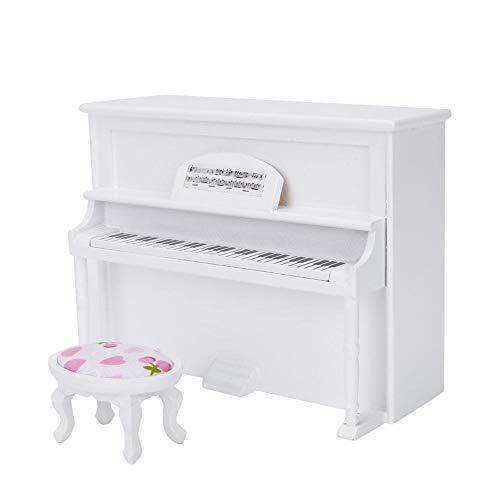Zerodis Puppenhaus Mini Upright Klavier Spielzeug Mini Upright Klavier Modell Spielzeug mit Hocker Simulation Möbel Dekoration für 1/12 Puppenhaus Zubehör(Weiß)