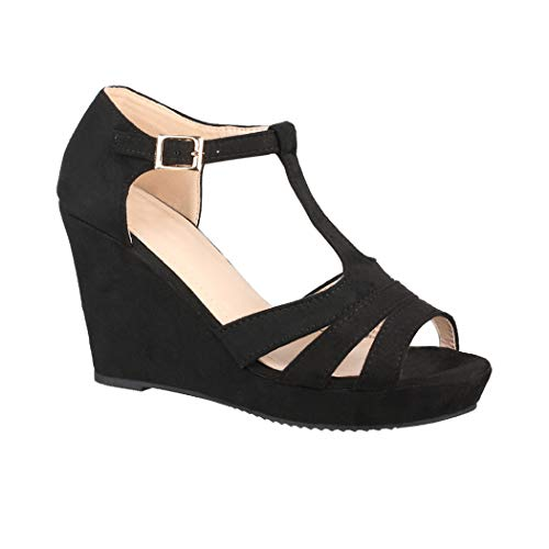 Elara Damen Keilsandalette | Bequeme Korkwedges | Plateau Sandalette | Chunkyrayan 1904-Black-40 Sexy Schwarze Peep-toe-heels