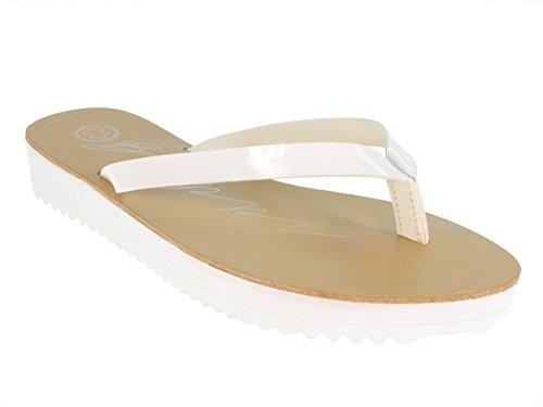 Beppi 213957 Damen Badelatschen Zehentrenner Schwimmbadschuhe Weiß