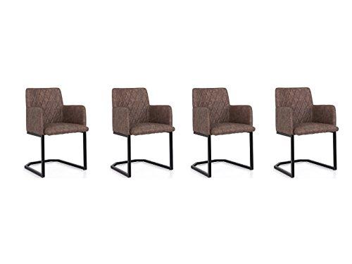 Woodkings® 4X Schwingstuhl Clinton Freischwinger mit Armlehne, Kunstleder marmoriert braun, Metall schwarz, Esszimmerstuhl Armlehnstuhl, Designstuhl, Metallstuhl, Küchenstuhl bequem