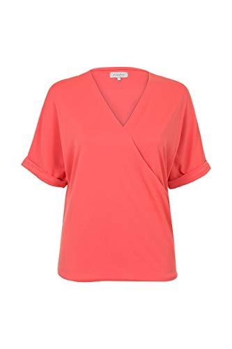 Promiss Damen Top Einfarbig Tupri Damen Top - Knit Tupri  Elegantes Oberteil Aus Sehr Weichem Jersey Aus Einer Modalmischung Coral, 3XL -