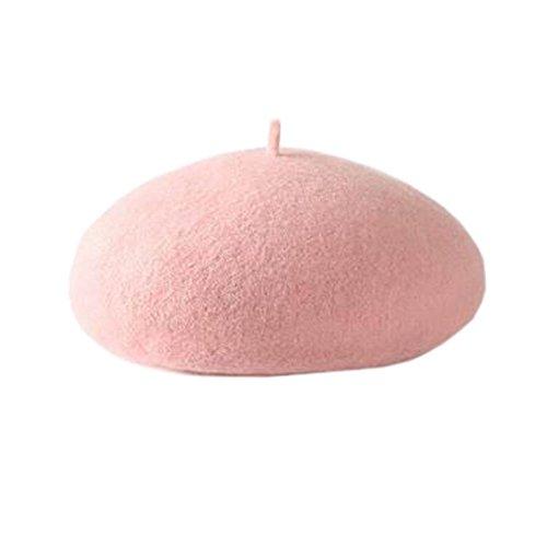 Frau Herbst Winter Solid Color Berets Hut Einfache modische Kuppel Hut, Lotusfarbe