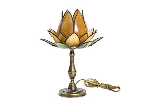 Lampe Tischleuchte Messing brüniert mit Glas Tiffany Seerose orange (Tiffany Seerose)