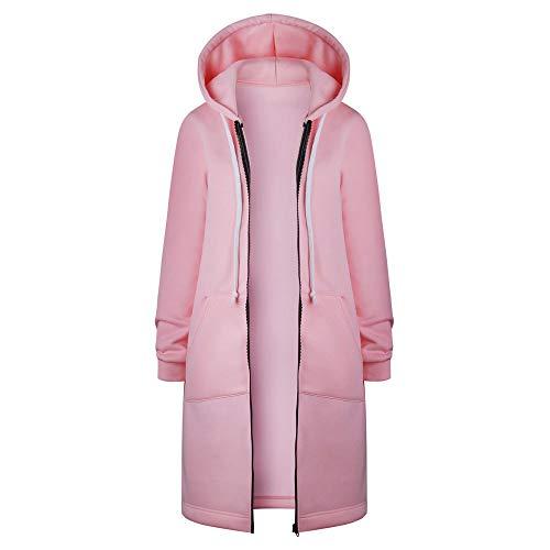 Damen Warmer Wintermantel Oversize Reißverschluss Kapuzenpulli Lang-Pullover Geöffnete Sweatshirt-Lange Mantel-Jacke übersteigt Outwear URIBAKY