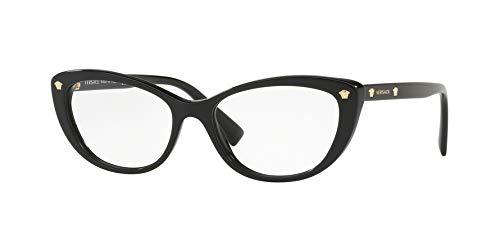 Versace Damen Brillengestelle 0VE3258, Schwarz (Black), 53