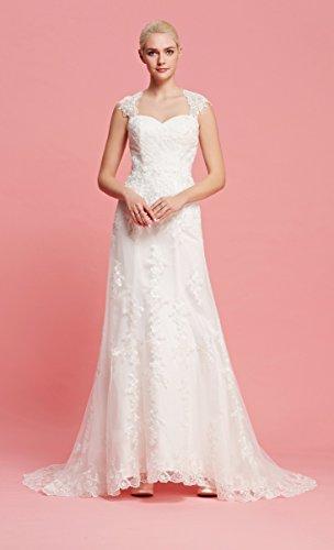 Brautkleid mit herzförmigen Ausschnitt und Träger aus transparentem Stoff und Spitze - 2