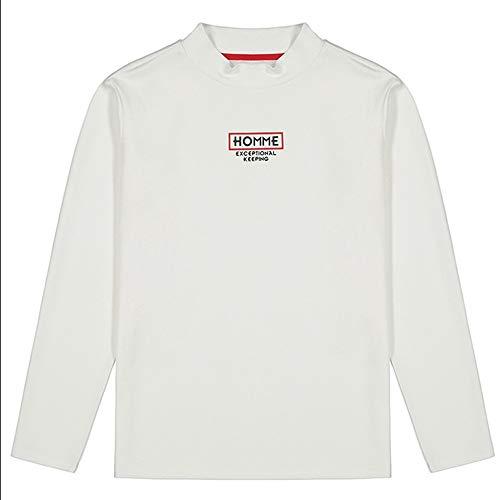 Shuo lan hu wai New Men's New Herbst Bodenbildung Langarm High Collar Fashion Brief T-Shirt (Color : White, Size : XL)