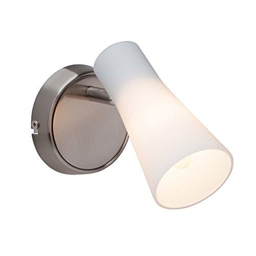 Elegante Wandleuchte mit weißem Lampenschirm aus Milchglas, 1x E14 max. 28W, Metall / Glas, eisen chrom / weiß (Milchglas Lampenschirm)