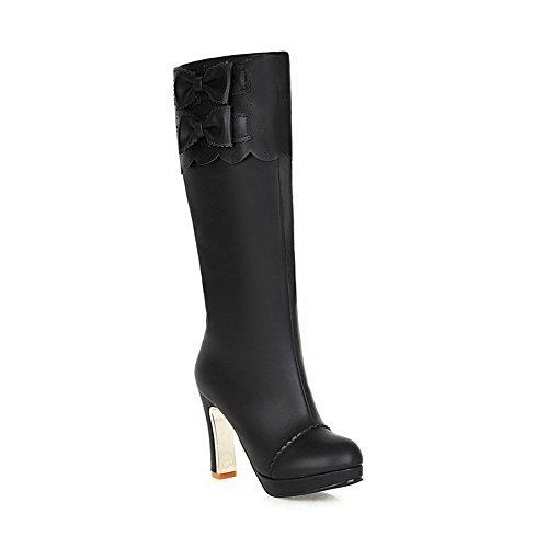 VogueZone009 Damen Niedriger Absatz Blend-Materialien Knie Hohe Stiefel, Grün, 36