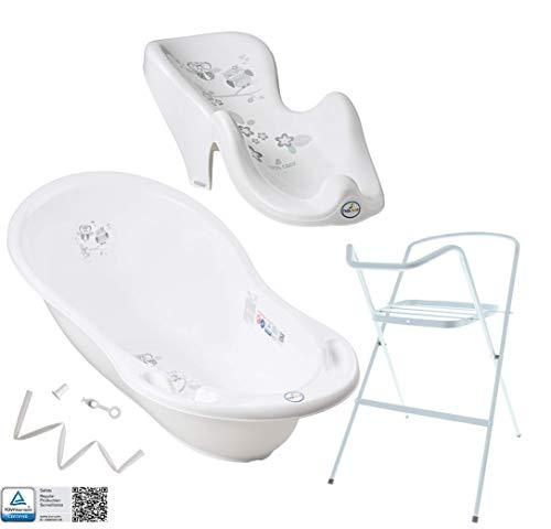 Baby Badewanne mit Gestell und Badewannensitz - Verschiedene Sets für Neugeborene mit Babybadewannen + Ständer +Abfluss + Badewannensitz. Tüv Rheinland geprüft!