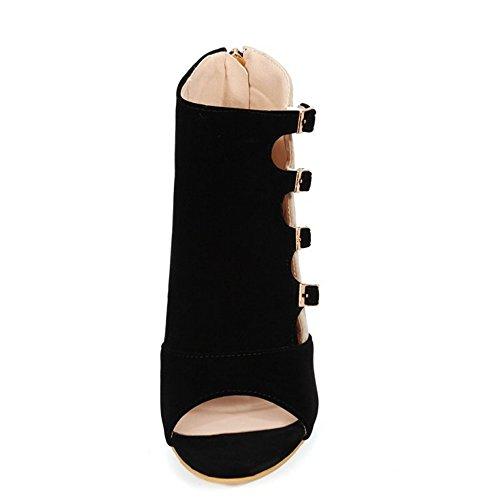 RizaBina Femmes Mode Peep Toe Aiguille Talons Hauts Bottillons Sandales De Boucle Noir