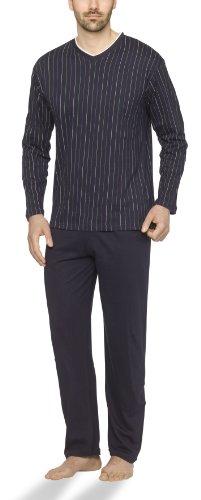 Moonline - Herren Schlafanzug lang aus 100% Baumwolle mit V-Ausschnitt und Streifen-Design, Farbe:Streifen-Druck auf navy, Größe:46/48 (Flanell Pyjama-hose Schlafen)