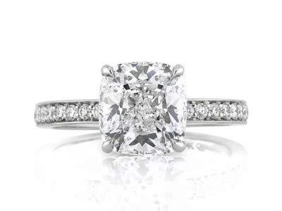 14 Karat Solid White Gold Verlobungsringe 3,00 Karat Solitaire Diamantring Größe 47 (15,0) Kissenschliff