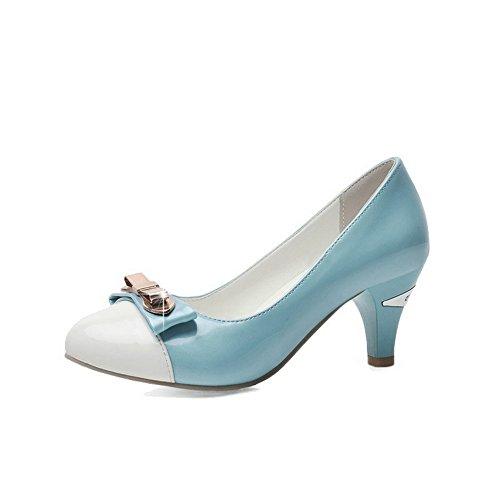 AllhqFashion Femme Pu Cuir à Talon Correct Rond Couleurs Mélangées Tire Chaussures Légeres Bleu