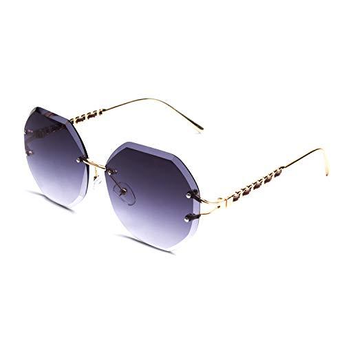 GQUEEN Sonnenbrille für Frauen Oversized Diamantschnitt Gläser Randlos Brille MOE8