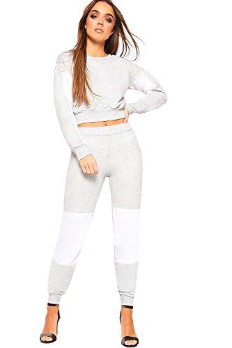 WEARALL - Damen Kontrast Seite Gestreift Druck Crop Top Jogging Anzug Damen Loungewear Einstellen - Hellgrau - 36-38 (Jumper Mini Micro)