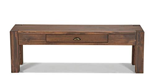 Naturholzmöbel Seidel Lowboard 140x38cm Höhe 30cm mit Schublade Massivholz Sideboard Konsole Anrichte TV Board Wandtisch, Rio Bonito Pinie Massiv Cognac braun -