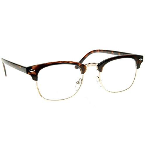 Emblem Eyewear - Prämie Halbbild Horn umrandeten Sonnenbrillen Metall Nieten (Schildkröte Klar) (Brille Frauen Umrandeten Horn Für)