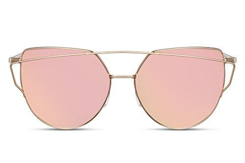 Cheapass Sonnenbrille Damen Rosé-Gold Verspiegelt UV400 Designer-Brille Metall Damen Frauen