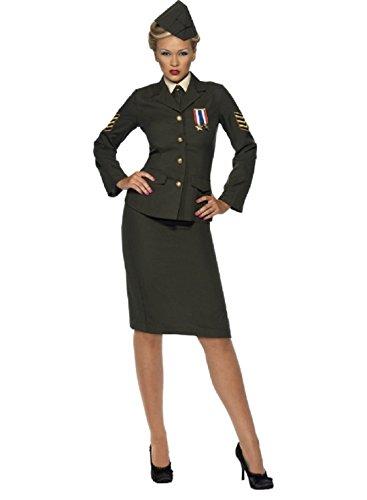 Weiblich 1940er Kriegszeit Fancy Kleid US Army Officer Kostüm Kleid UK (1940er Army Kostüm)