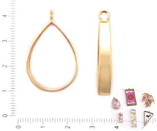 2pcs Licht Gold-Tone Teardrop-Rahmen-Schacht-Einstellung Für Epoxid-UV-Harz, Polymer-Metall-Open-Back-Halskette-Schmuck DIY