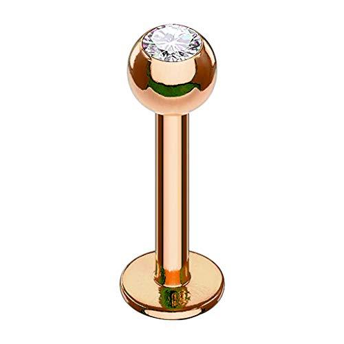 Piersando Piercing Stab Stecker Kugel mit Kristall Lippen Labret Lippenpiercing Ohr Tragus Ohrpiercing Helix Nase Intim Zungen Nasen Rosegold Clear 1,2mm x 6mm