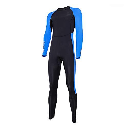 Full Body Thin Wetsuit Lycra UV-Schutz mit Langen Ärmeln Quick Dry Dive Haut Anzug für Surfen Schnorcheln Tauchen für Mann und Frau 1pc schwarz und blau XL