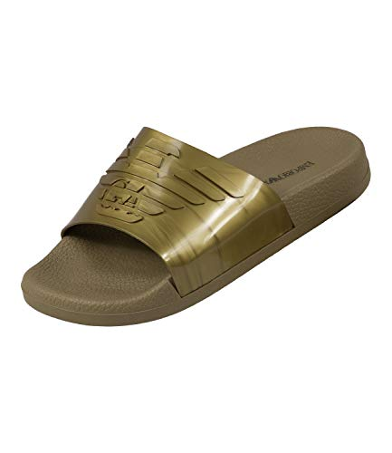 Emporio Armani Metallic Sliders UK 8 Gold