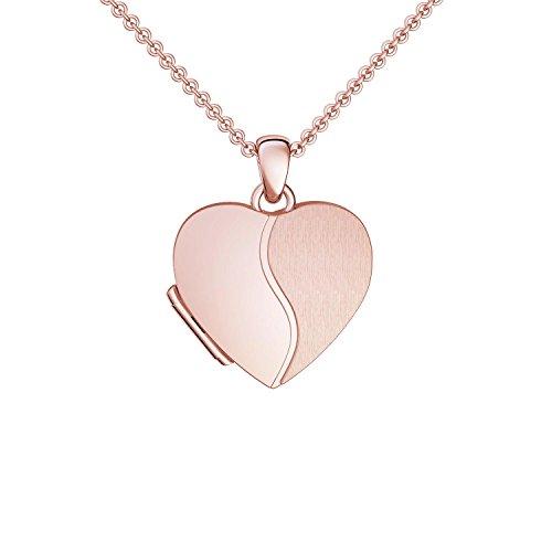 Foto Medaillon Herz Rosegold hochwertig vergoldet Herzkette Herz Anhänger zum Öffnen mit Kette inkl. GRATIS Luxus-Etui + – Herz Amulett Herzmedaillon Fotos Bild Bilder FF99