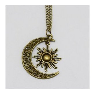 Sonne und Mond Freundschaft Halskette Jewelry BBF Halskette (Mond Und Sonne, Halloween Kostüm)