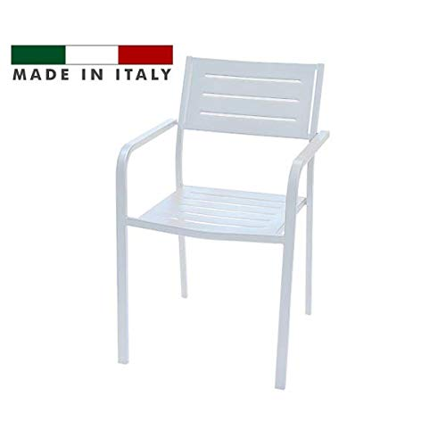 RD ITALIA Stuhl Sessel mit Armlehnen stapelbar Design Modern aus Metall Eisen-Outdoor Garten Terrasse Patio Bar Restaurant -