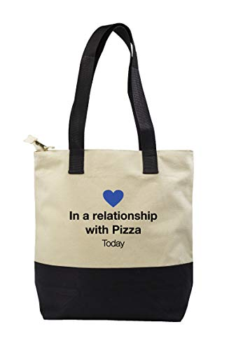 Hippowarehouse In a relationship with Pizza Premium reusable eco friendly 100% cotton tote shopper bag for life 43cm x 33cm x 17cm