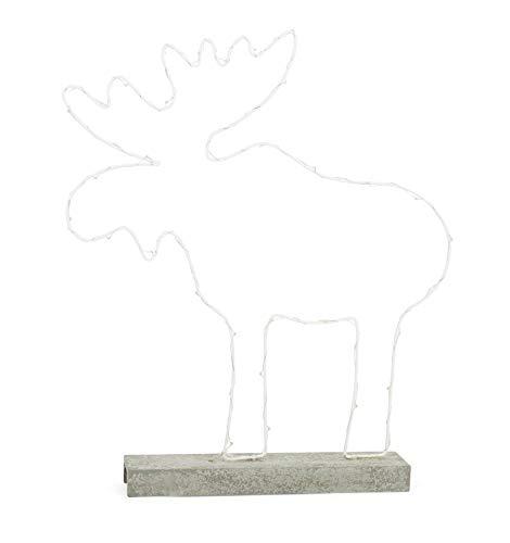 Small Foot Leuchtelch aus Metall mit stabilem Holzfuß in Betonoptik mit LED-Beleuchtung, batteriebetrieben, Weihnachtsdekoration in Rentier-Form für die Fensterbank, Winterdeko Dekoartikel, weiss